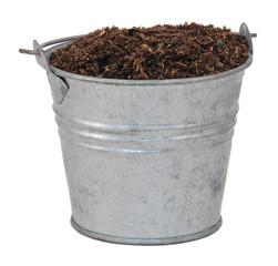 Compost / soil / dirt in a miniature metal bucket