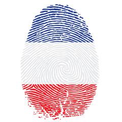 Daumenabdruck in französischen Farben