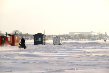 winter ice fishing scenic