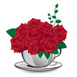 Red rose in a white cup