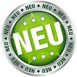 """Button """"NEU"""" grün/silber rund"""