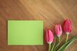 Zettel mit Tulpen