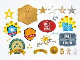 hall of famer badges - vector sets