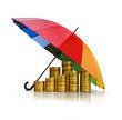 Regenschirm mit Münzen