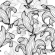 Gray monochrome floral seamless pattern