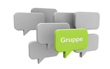 Sprechblase mit Gruppe - Konzept Meinung