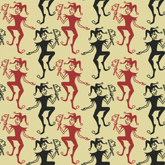 Seamless pattern of Jokers