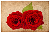 vintage card board with red roses