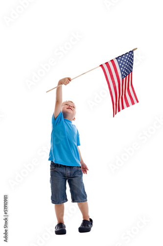 Child waving American flag isolated on white