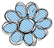 Blume mit Bayrischem Muster