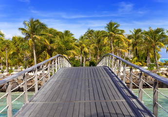 wooden bridge near the sea.