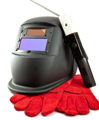 Protective mask , electrode and gloves on a white background