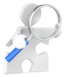Search. Puzzle people with Magnifying Glass.
