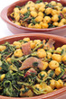 spanish garbanzos con jamon, chickpeas with serrano ham, served