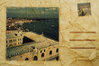 views of Venice, Italy, simulating a vintage postcard