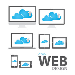 Cloud computing in electronic icon devices vector eps10