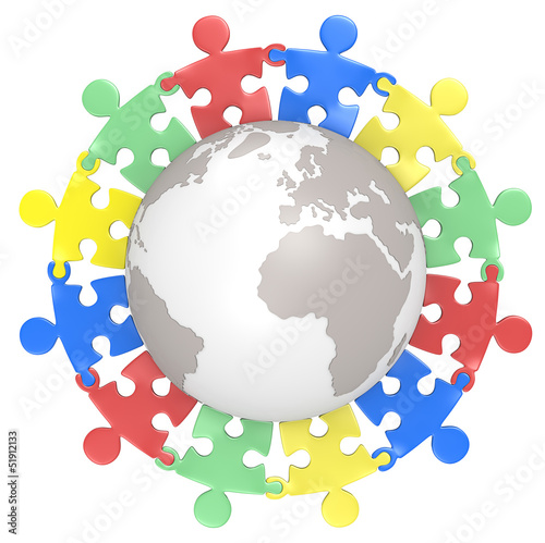 Multicultural.Puzzle people holding hands around the Globe.