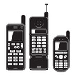 Old mobile phone set 90's. Black and white vector