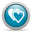 love blue circle web glossy icon