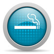 smoking blue circle web glossy icon