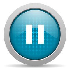 pause blue circle web glossy icon