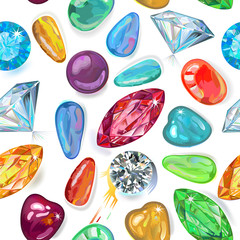 Seamless texture of colored gems isolated on white background. V