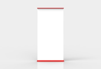 Red blank roll-up poster banner display