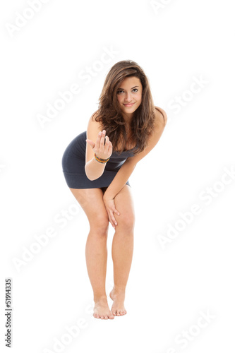 Portrait of brunette girl, isolated on white background