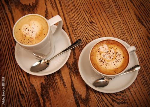 two cups cappuccino and latte