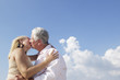 Active retired people, romantic elderly couple in love and kissi