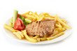 grilled meat and french fries