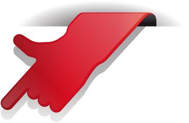 rote hand zeigt vector