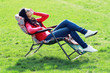 woman relaxing on lounger