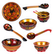 Wooden old Russian dishes with the painting of Khokhloma