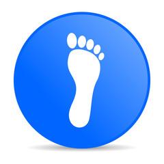 footprint blue circle web glossy icon