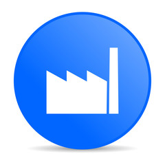 industry blue circle web glossy icon