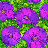 Ornate violet flowers vector seamless pattern
