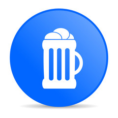 beer blue circle web glossy icon