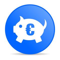 piggy bank blue circle web glossy icon