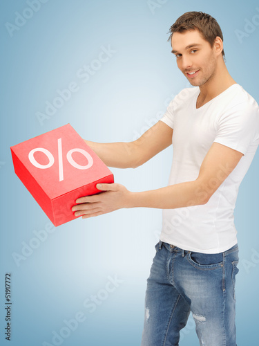 man with big percent box