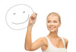 woman drawing happy face