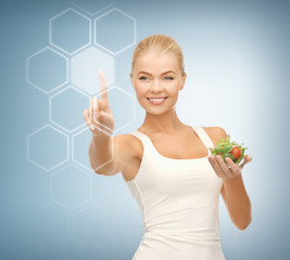woman with salad and virtual screen
