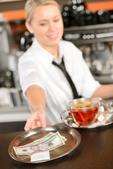 Attractive waitress taking tip in bar USD