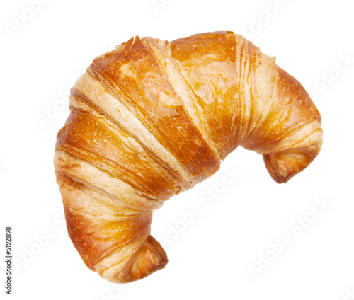 Poster Bakkerij croissant isolated isolated on white