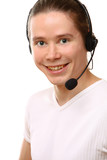 A customer support operator with a headset