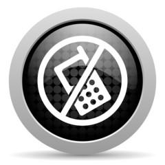 no phones black circle web glossy icon