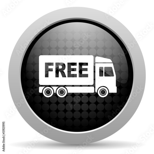 free delivery black circle web glossy icon