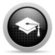 graduation black circle web glossy icon