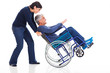 mature couple having fun with wheelchair