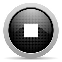 stop black circle web glossy icon
